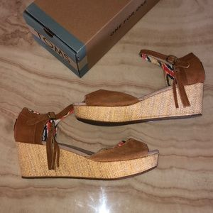 TOMS Platform Wedges with Strap